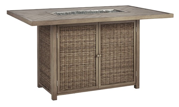 Ashley Furniture Beachcroft Beige Bar Table With Fire Pit P791-665