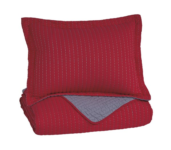 Dansby Youth Red Gray Fabric Twin Coverlet Set Q225011T