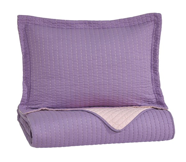 Dansby Youth Lavender Pink Fabric Twin Coverlet Set Q225021T