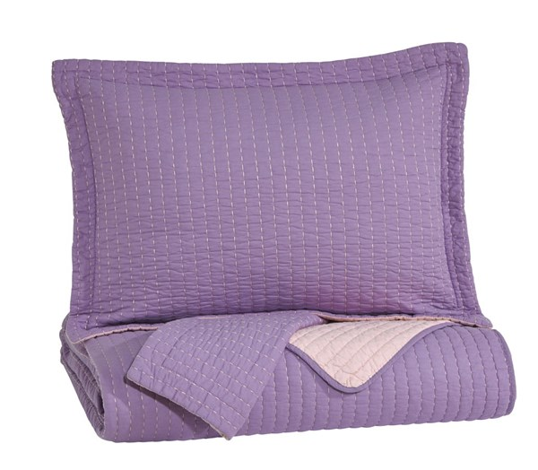 Dansby Youth Lavender Pink Fabric Full Coverlet Set Q225023F