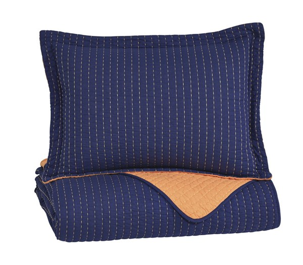 Dansby Youth Navy Orange Fabric Twin Coverlet Set Q225041T