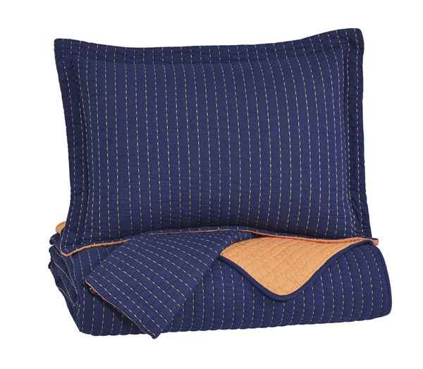 Dansby Youth Navy Orange Fabric Full Coverlet Set Q225043F