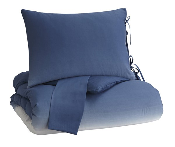 Aracely Contemporary Blue Fabric King Comforter Set Q243013K
