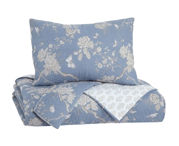 Damita Casual Blue Beige Fabric Queen Quilt Set Q245003Q