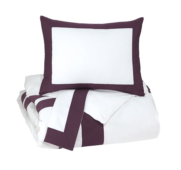 Daruka Traditional Plum Fabric King Duvet Cover Set Q248023K