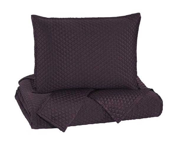 Dietrick Traditional Plum Fabric King Quilt Set Q256033K
