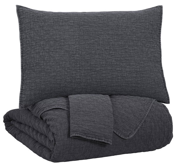 Ashley Furniture Ryter Charcoal 3pc King Coverlet Set Q349003K