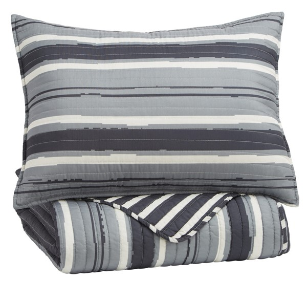 Ashley Furniture Merlin Youth Gray Cream Twin Coverlet Set Q420001T