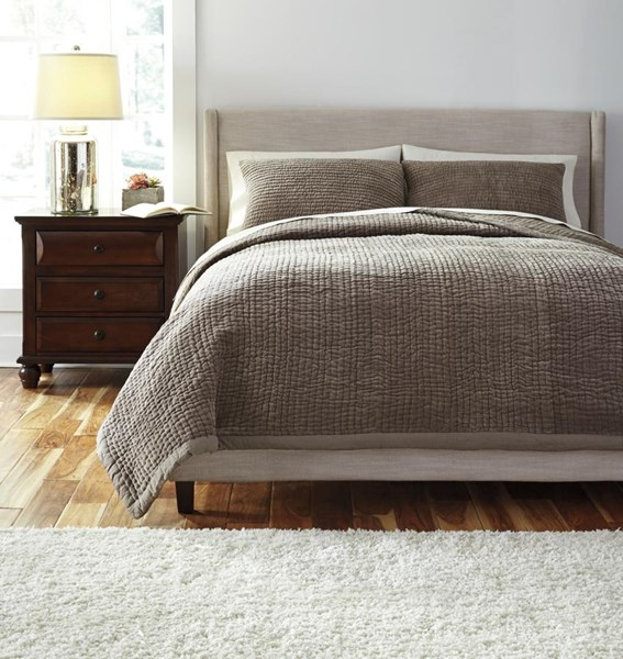 Stitched Vintage Casual Gray King Comforter Set Q454003K