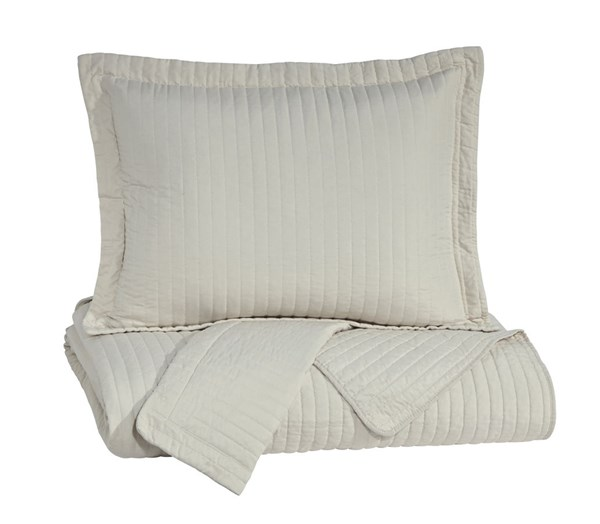 Raleda Contemporary Buff Fabric Coverlet Sets RALEDA-VAR6