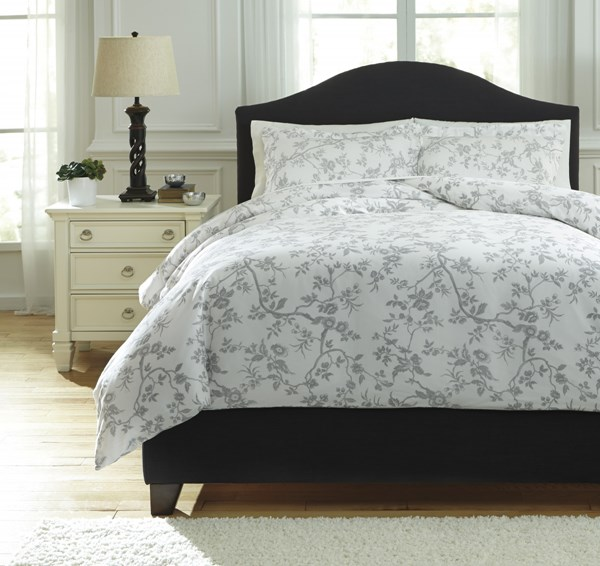 Florina Vintage Casual Gray White Floral Fabric King Duvet Cover Set Q727023K