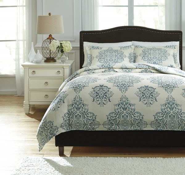 Fairholm Traditional Classics Turquoise Fabric Queen Duvet Cover Set Q728023Q