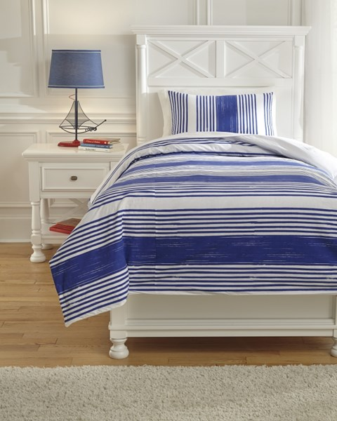 Taries Youth Blue Fabric Striped Twin Duvet Cover Set Q729011T