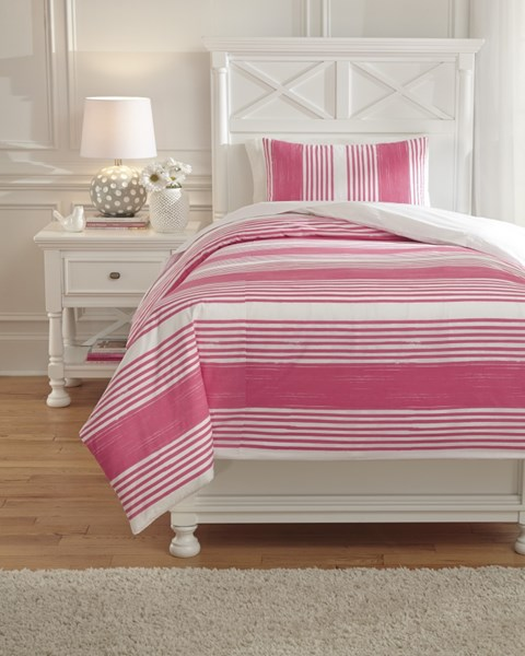 Taries Youth Pink Fabric Striped Twin Duvet Cover Set Q729021T