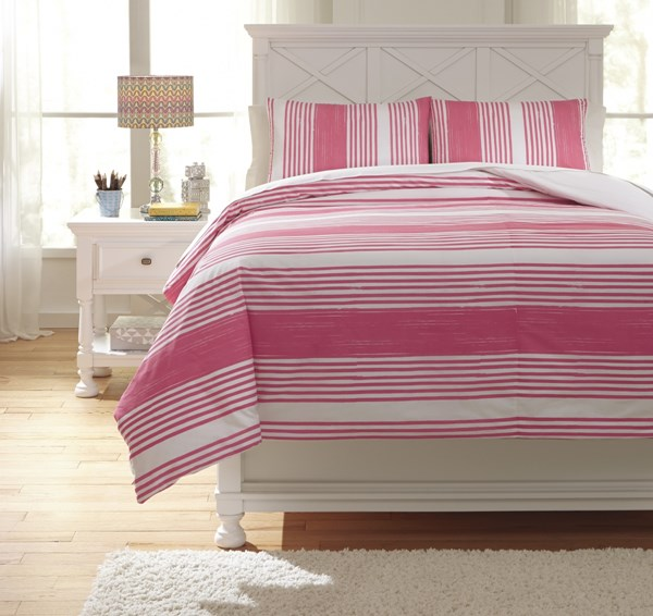 Taries Youth Pink Fabric Striped Full Duvet Cover Set Q729023F