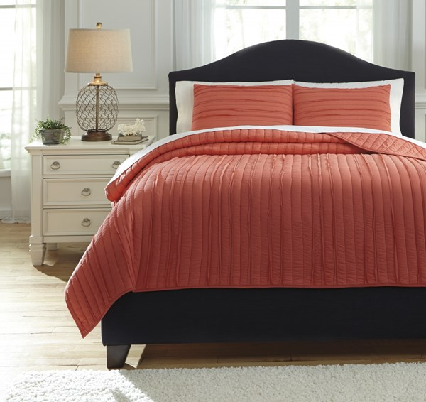 Solsta Vintage Casual Coral Fabric King Coverlet Set Q737023K