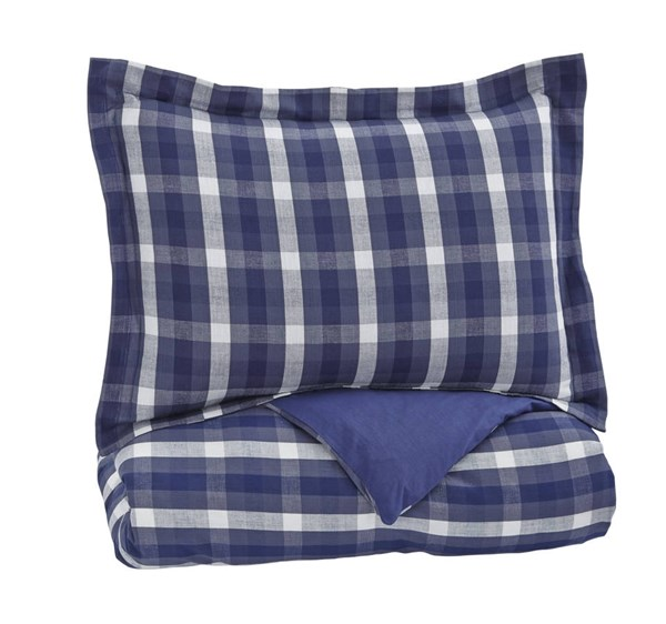 Baret Youth Blue Fabric Plaid Twin Duvet Cover Set Q743021T