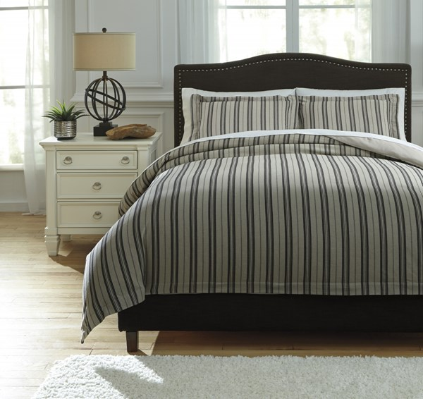 Navarre Urbanology Black Natural Fabric Striped Queen Duvet Cover Set Q745013Q