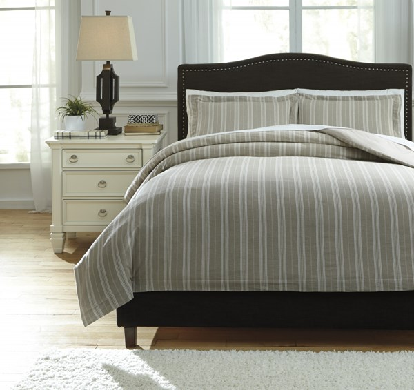 Navarre Urbanology White Natural Fabric Striped Queen Duvet Cover Set Q745023Q