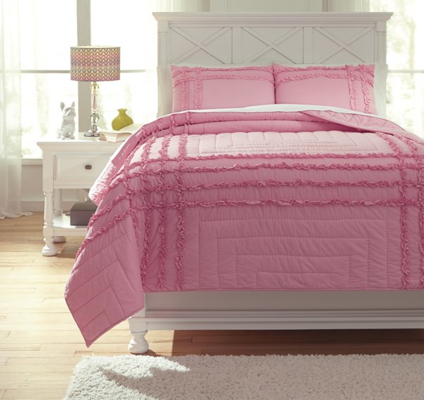 Megara Youth Pink Fabric Machine Washable Full Quilt Set Q747003F