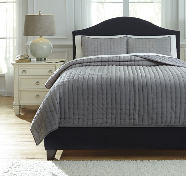 Teague Traditional Classics Gray Hand Quilted Queen Comforter Set Q748003Q