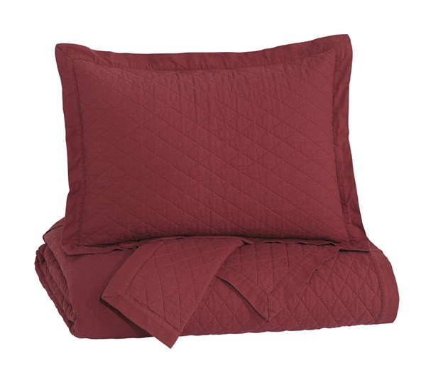 Alecio Traditional Red Fabric King Quilt Set Q760043K
