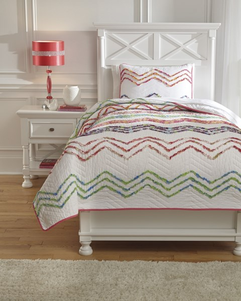 Lacentera Youth Fabric Zig Zag Twin Quilt Set Q769001T