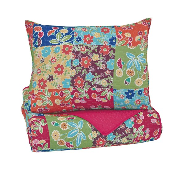 Belle Chase Youth Patch Polyester Twin Quilt Set Q770001T
