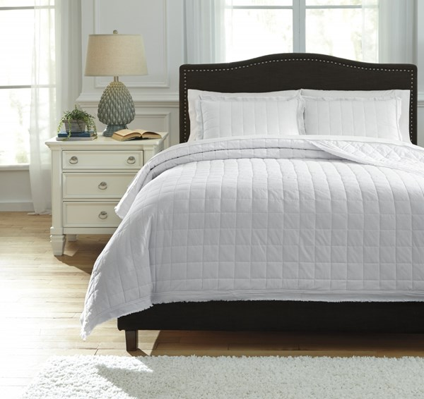 Amare Vintage Casual White Sand Navy Fabric Coverlet Sets AMARE-VAR1