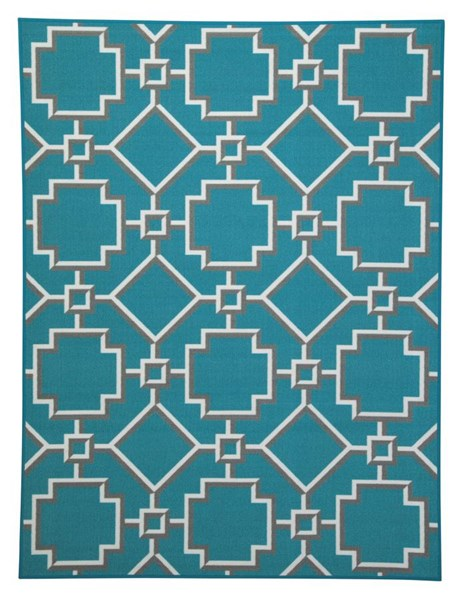 Zarek Transitional Turquoise Nylon Medium Rug R295002