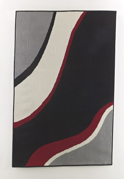 Livy Contemporary Red Black Power Loomed Rectangle Medium Rug R304002
