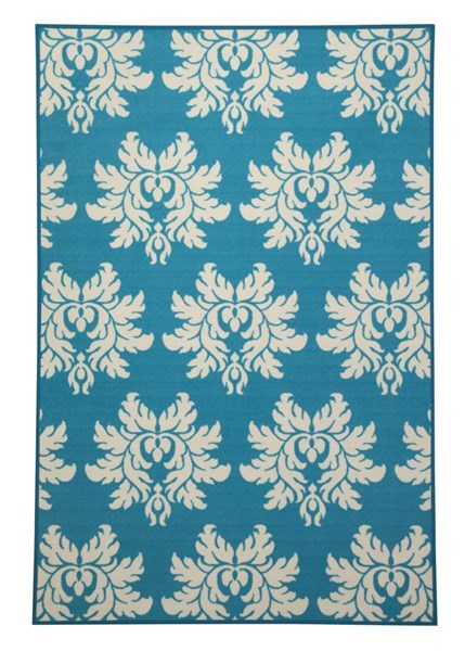 Lia Transitional Turquoise Polyester Medium Rug R332002