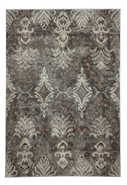 Vidonia Contemporary Gray Taupe Fabric Medium Rug R400312