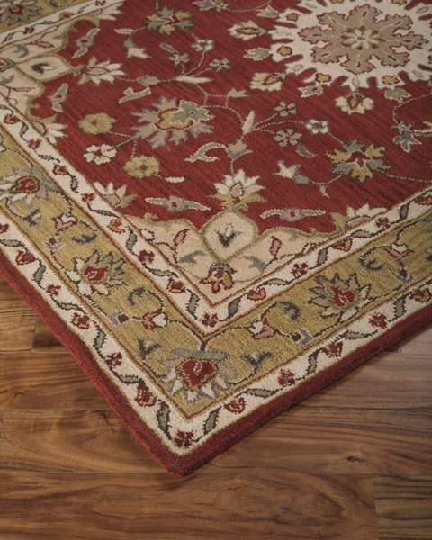 Maroney Traditional Classics Red Fabric Hand Tufted Large Rug R400391