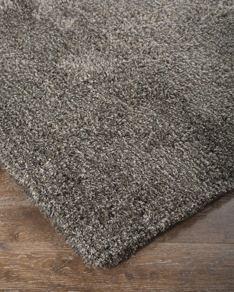 Wallas Transitional Silver Gray Polyester Tufted Solid Medium Rug R400472