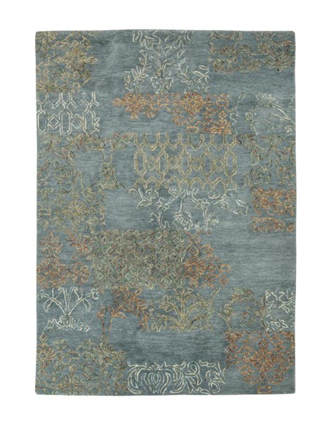 Overdyed Transitional Waterfall Green Wool Large Rug R401301