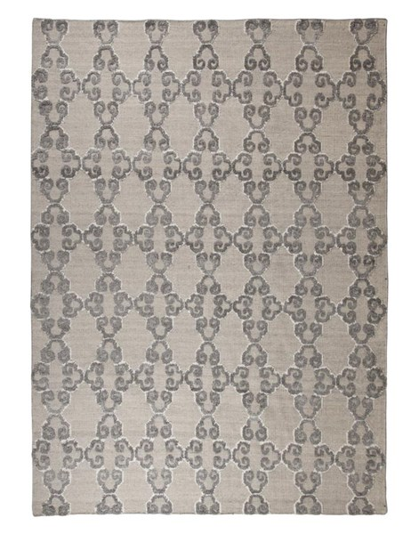 Patterned Traditional Classics Gray Ivory Bamboo Viscose Medium Rug R401462