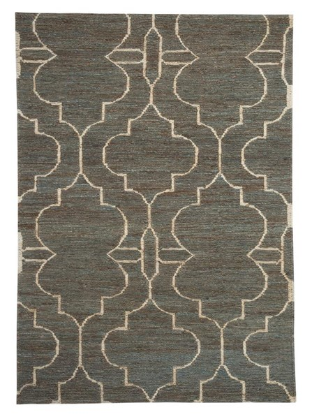 Gillian Contemporary Teal Hand Woven Rectangle Medium Rug R401472