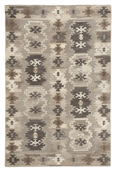 Porcinni Traditional Gray Fabric Large Rugs R40152-RUG-VAR
