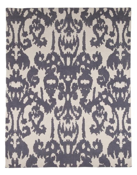 Patterned Traditional Classics Gray White Polyester Medium Rug R401542