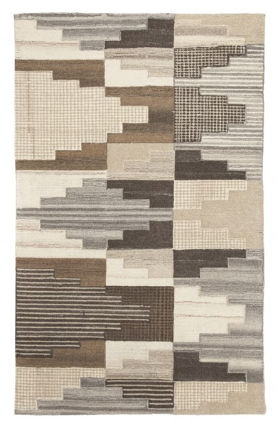 Watnick Contemporary Brown Gray Fabric Medium Rug R401672