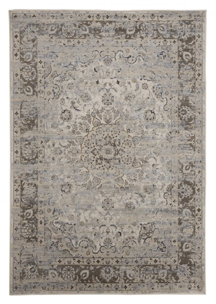 Kyan Casual Blue Ivory Polypropylene Medium Rug R401722