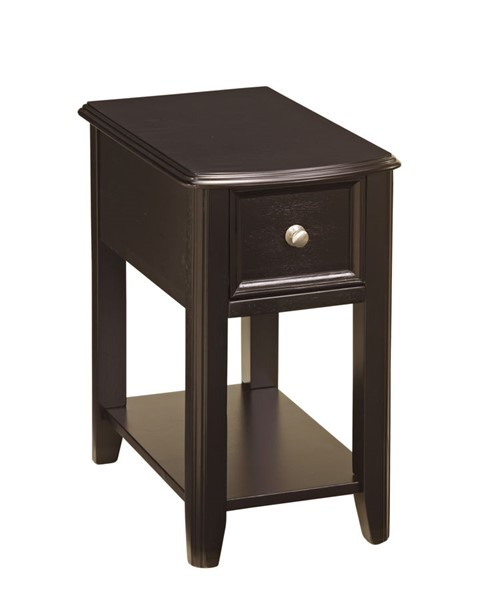 Contemporary Black Solid Wood Chairside End Table T007-371