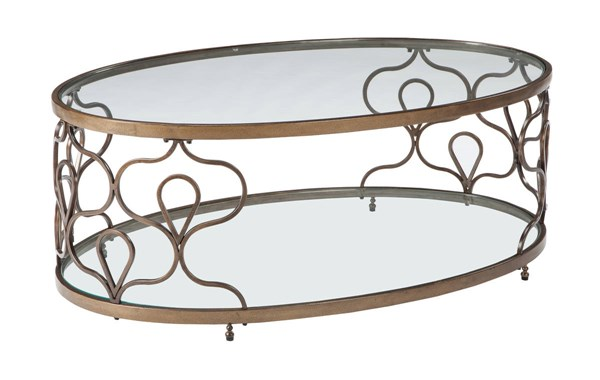 Ashley Furniture Fraloni Bronze Oval Cocktail Table T086-0