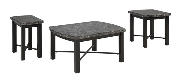 Otterton Contemporary Black Gray Marble Metal 3pc Occasional Table Set T114-13