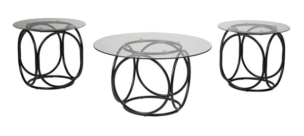 3 Quassey Contemporary Black Metal Glass Occasional Table Sets T116-13