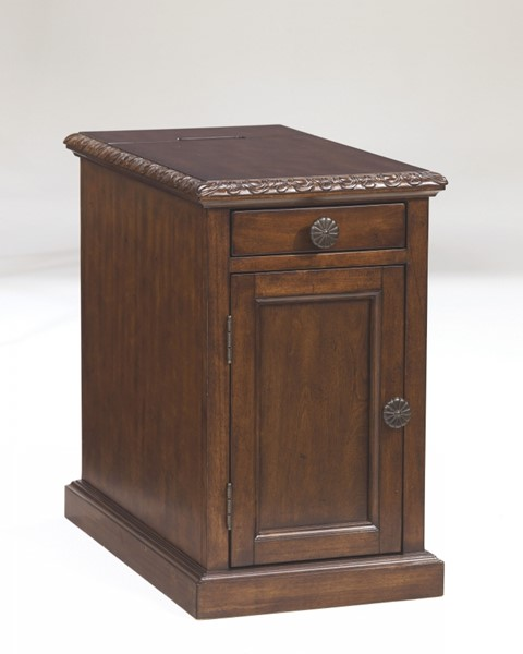 Laflorn Contemporary Cherry Dark Brown Wood Chair Side End Table T127-553