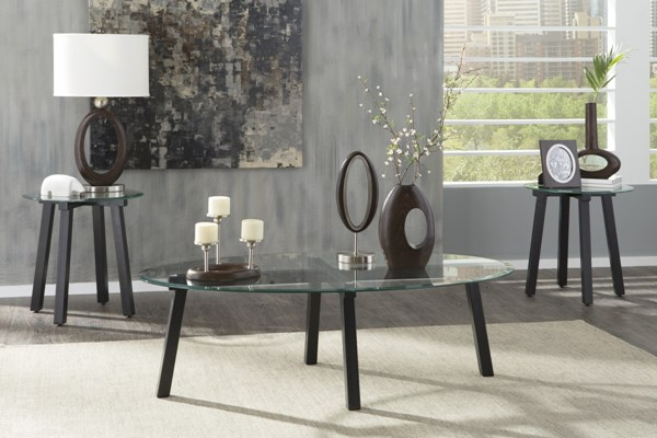 Iselle Contemporary Black Glass Occasional Table Set T132-13