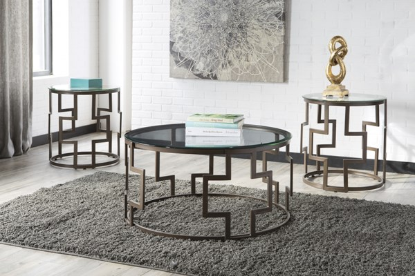 Frostine Contemporary Dark Bronze Metal Glass Occasional Table Set T138-13