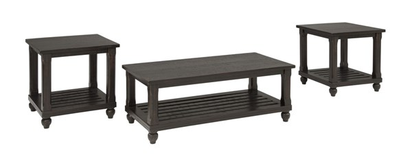 Mallacar Contemporary Black Wood Occasional Table Set T145-13
